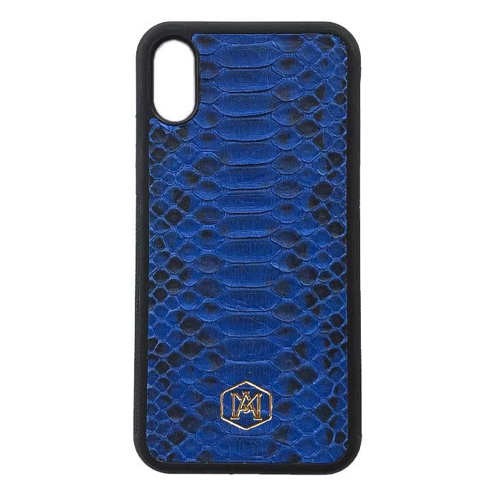 Cover per Iphone XS in pelle di pitone blu