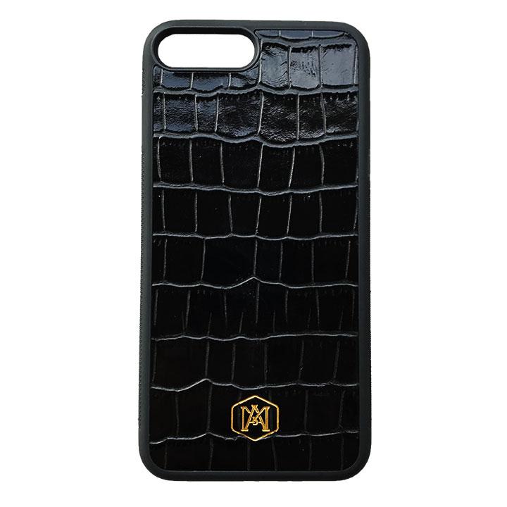 prezzo competitivo 0be4d 26307 Cover Nera Iphone 7 Plus / 8 Plus in pelle di Coccodrillo Goffrata
