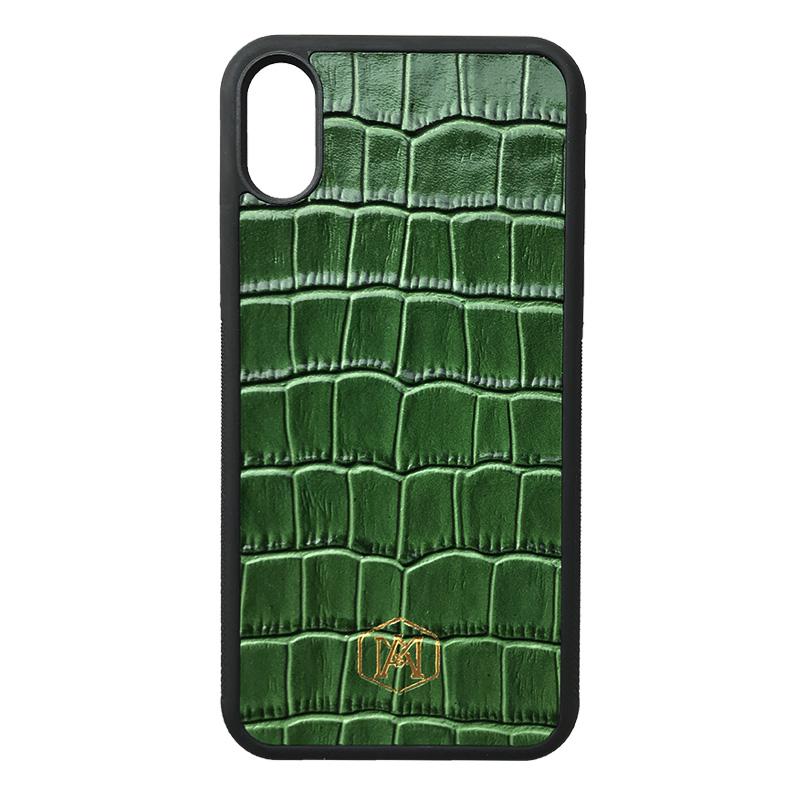 Cover Nera Iphone XS Max in pelle di Coccodrillo - Andrea Morante ®️