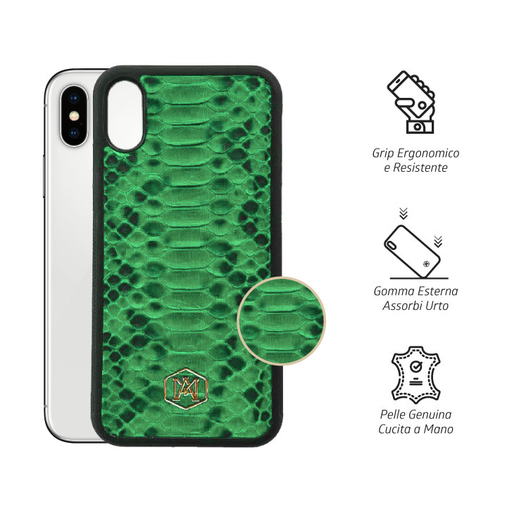 Cover Iphone XS Max Verde in pelle di Pitone - Andrea Morante ®️