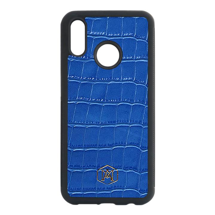 Cover Huawei P20 Lite in pelle di Coccodrillo Goffrata Blu