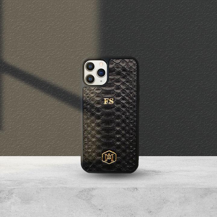 Cover Iphone 11 Pro in pelle di Pitone Nera